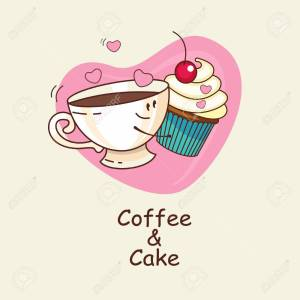 Coffee and cake on the background heart, love forever. Coffee an